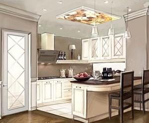 Светлая классическая кухня